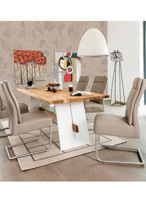 Dubový stůl na kovových nohách Alba