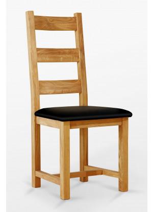Dubová židle 04 Eko kůže černá/bílá