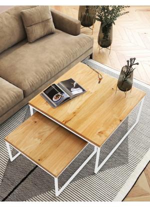 SADA čtvercových konferenčních stolků dubových Ław06 ❏50+❏60 | ❏70+❏80 | ❏90+❏100