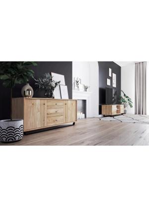 Dubový TV stůl Steel 03 (2d vysoký)