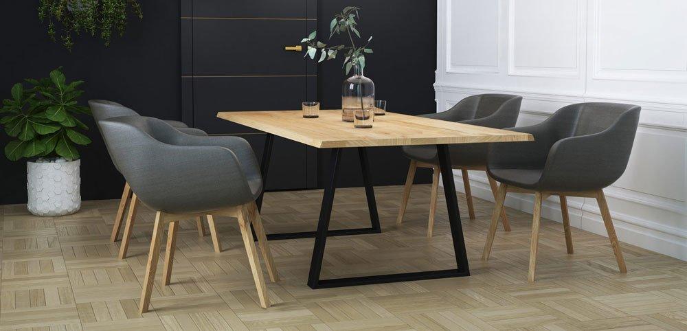 Stół dębowy na metalowych nogach jadalnia